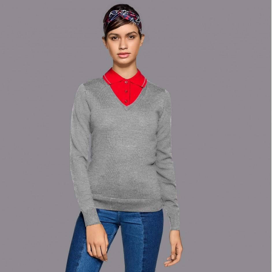 134 Dames Merino Wool V-Neck Pullover
