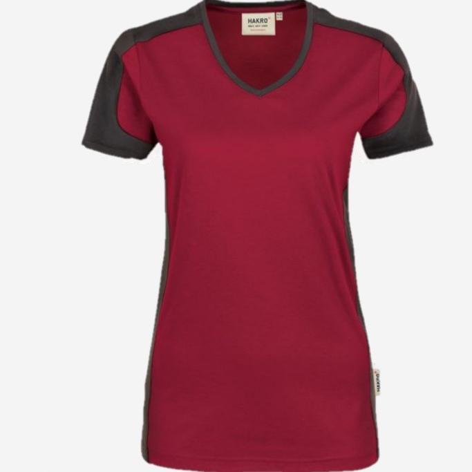 Hakro Dames v-hals T-shirt Contrast Performance 190