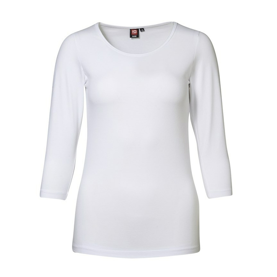 Stretch T-Shirt ronde hals, 3/4 mouw.